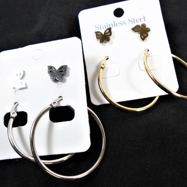 Stainless Steel  Earring Set Gold/Silver w/ Butterfly  .60 ea set