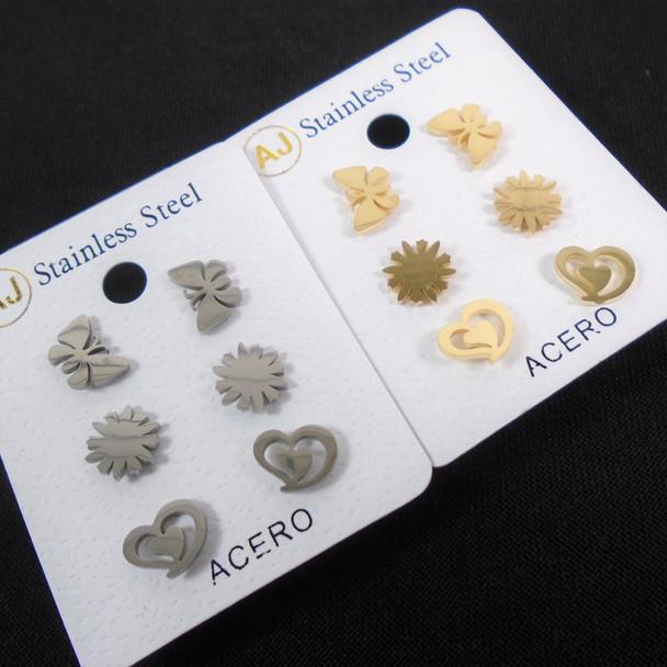 3 -Pair Gold & Silver Stainless Steel Earrings Butterfly,Heart,Sun  .58 per set