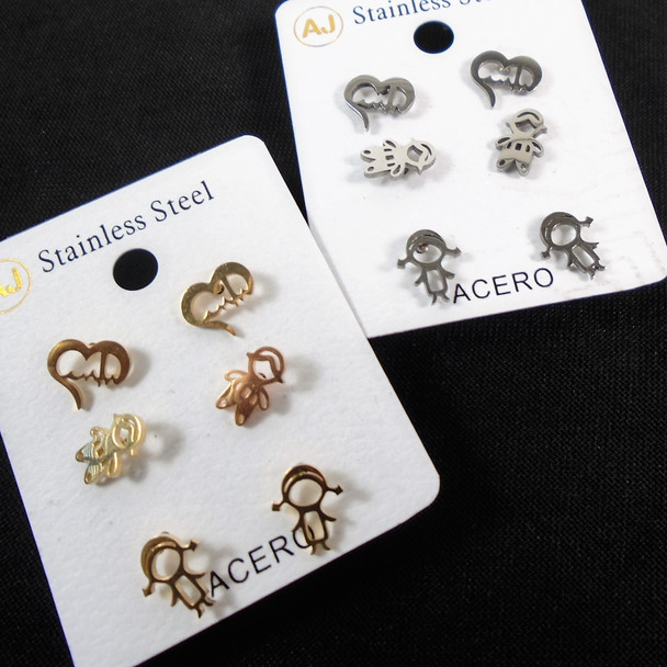 3 -Pair Gold & Silver Stainless Steel Earrings Kids Theme  .58 per set