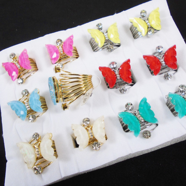 Gold & Silver Spring Style Butterfly Fashion Rings w/ Stones  .60 each