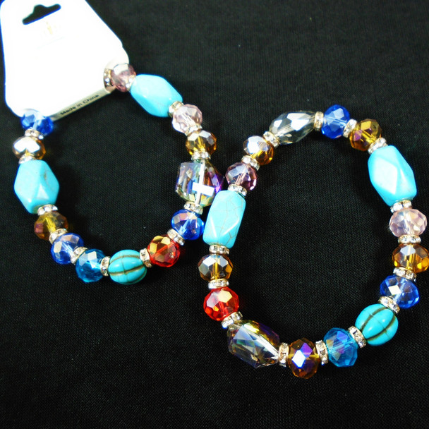 Shiney Crystal & Glass Bead Fashion Stretch Bracelets w/ Turquoise Beads  .60 ea