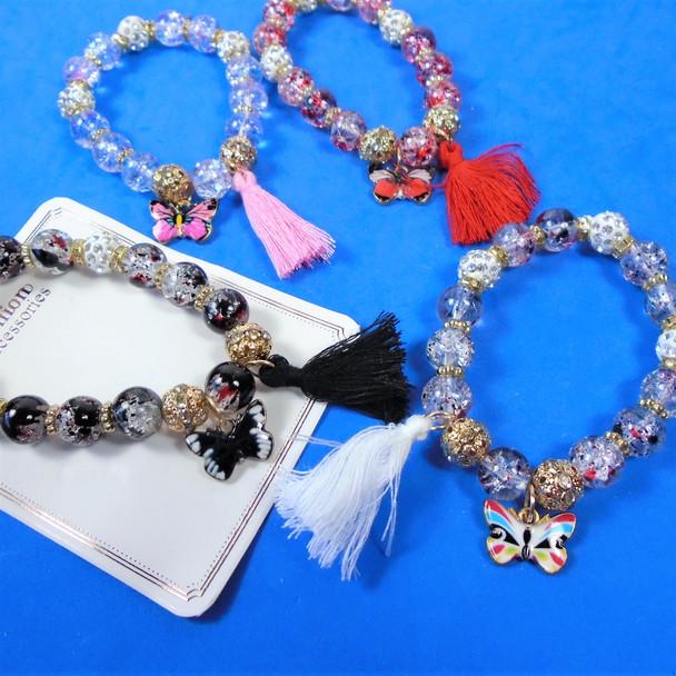Glass Bead & Crystal Bracelets w/ Butterfly & Tassel .60 each