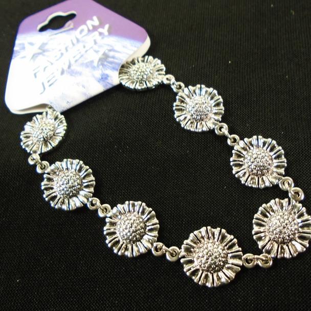Cast Silver Flower Theme Bracelets  12 per pk  .75 each