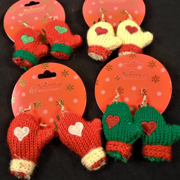 Handmade Knit Mittien Christmas Earring .58 per pair