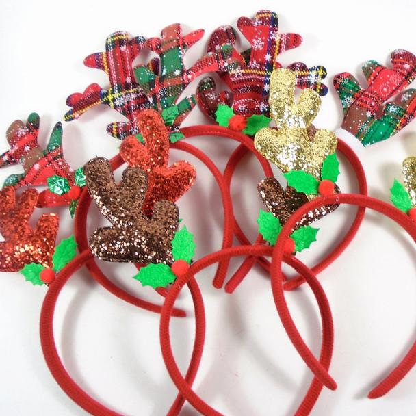 Mixed Pack Christmas Headbands Plaid & Sparkle  .70 each