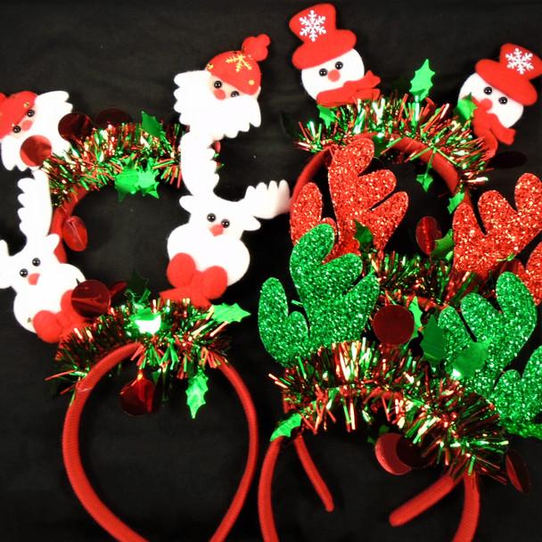 Mixed Pack Christmas Headbands Bobble Head  & Sparkle  .70 each