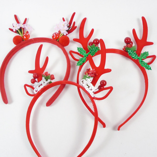 Mixed Pack Christmas Headbands Red Antler Theme w/ Ornament  .70 each