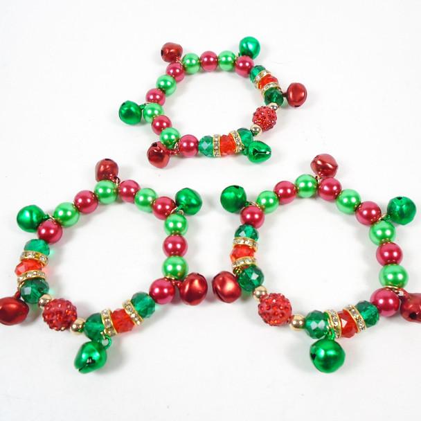 THE BEST Jingle Bell & Crystal Stone Christmas Stretch Bracelets .60 each