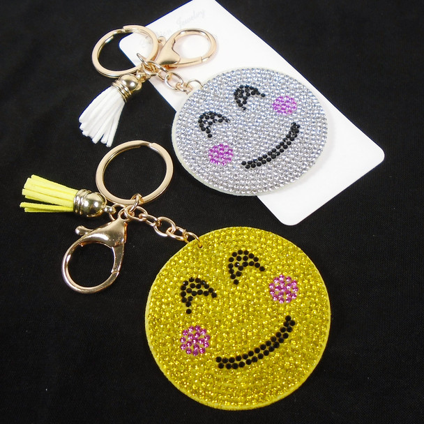 """2.25"""" Rd. Crystal Stone Happy Face  Bling Keychains w/ Tassel & Clip 12 per pack .65 ea"""
