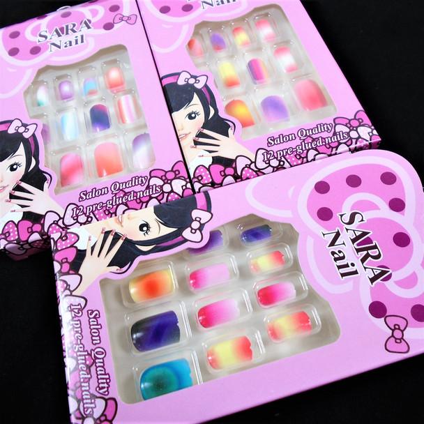Kid Tye Dye  Theme Fashion Nails Set of 12 Pre Glued  .56 per set