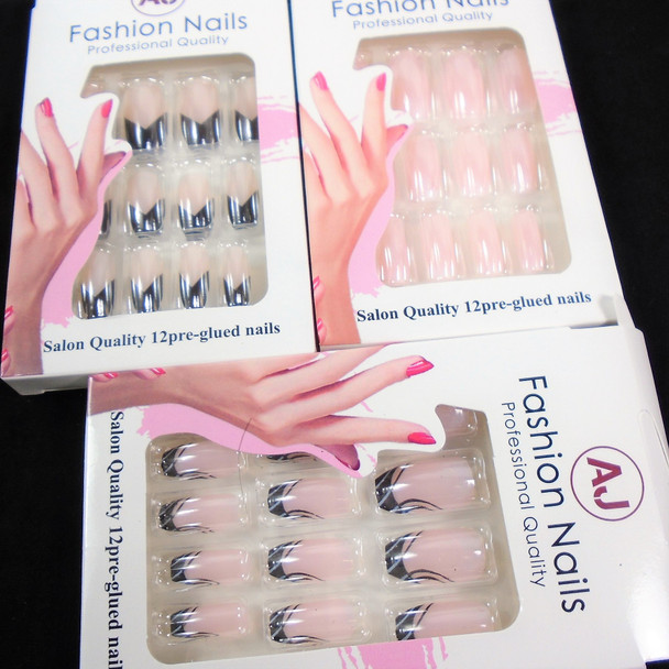 Multi Style Pack Mixed Color  12 Pk Pre Glued Fashion Nails (1021) .58 each set