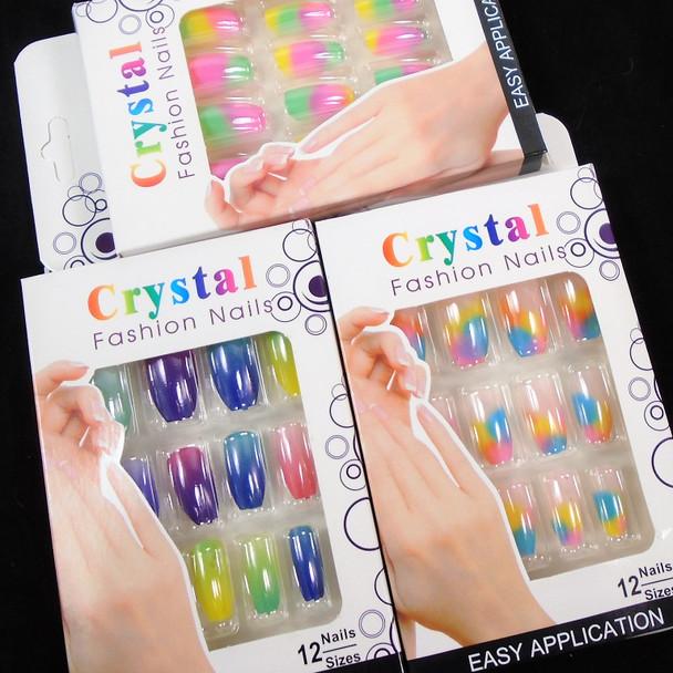 Tye Dye  Pack Mixed Color  12 Pk Pre Glued Fashion Nails (3486) .58 each set