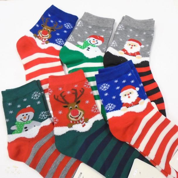 Great Quality Christmas Theme Crew Socks  Striped Bottom  .75 per pair