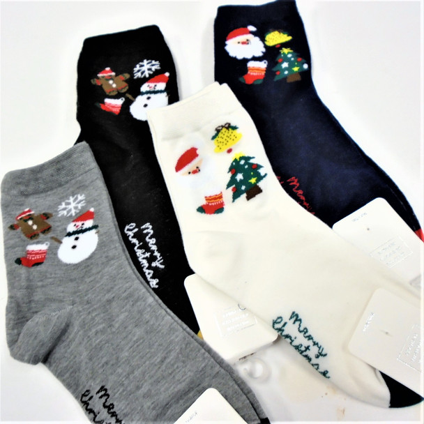 Great Quality Christmas Theme Crew Socks  Embroided Merry Christmas  .75 per pair