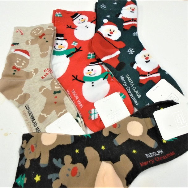 Great Quality Christmas Theme Quarter Socks 4 style w/ Saying .75 per pair