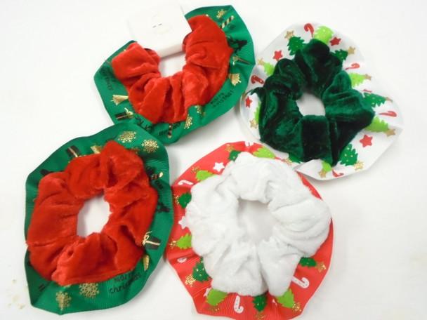 Handmade Christmas Theme  Scrungi Velvet w/ Trim    .60 each