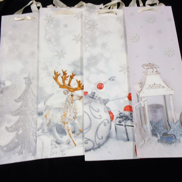 """4.5"""" X 14"""" Best Quality Christmas Theme Gift Bag 4 styles  12 per pack  .58 each"""