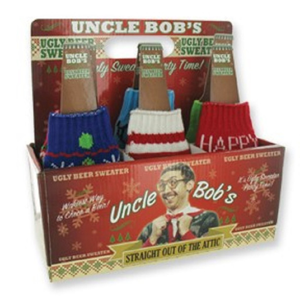 Ugly Sweater Knitted Beer Bottle Sweater 24 per display bx $ 1.50 each