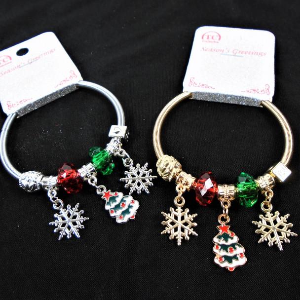 Christmas Gold & Silver Spring Style Bracelet w/ SNowflake & Tree  .60 each