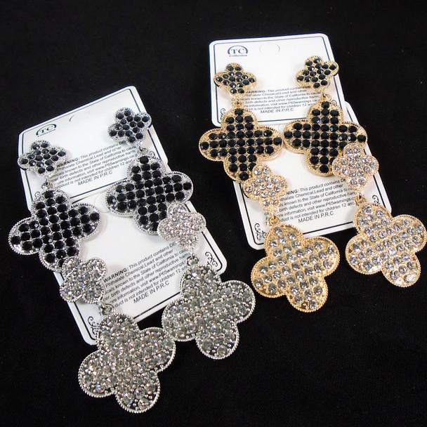 Hi Fashion Gold & Silver Crystal Stone  Fashion Earrings   .60 per pair