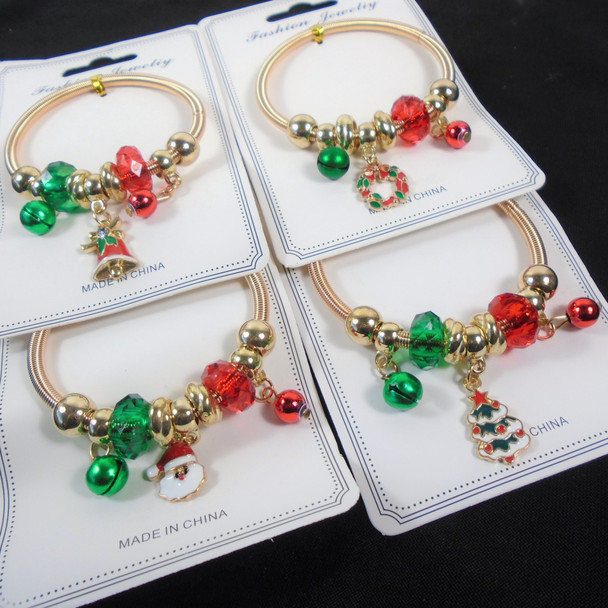 Christmas All Gold Spring Style Bracelet w/ Colored Beads & Mixed Charms   .60 each