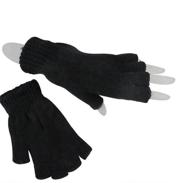 All Black  Adult Size Knit Fingerless Magic Gloves 12 pair pk .60 ea pair