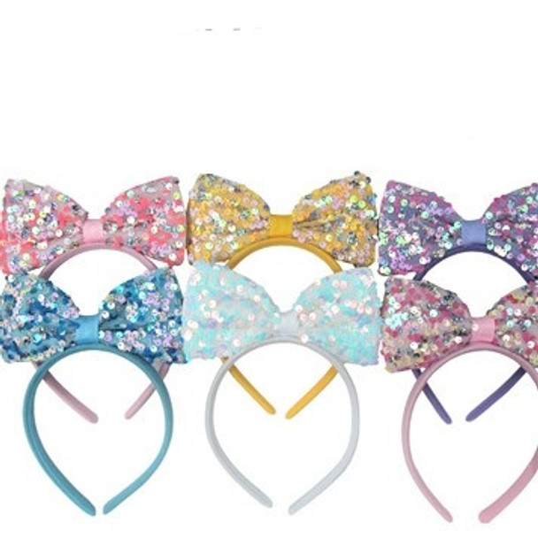 Lite Color Kids Headbands w/ Shiney Sequin Bow on Top  .60 each