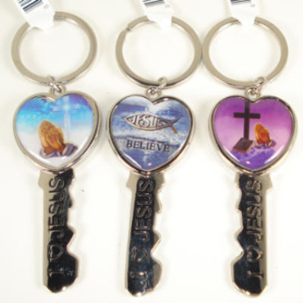 Key Style I Love Jesus Engraved Pictured Keychain .56 ea