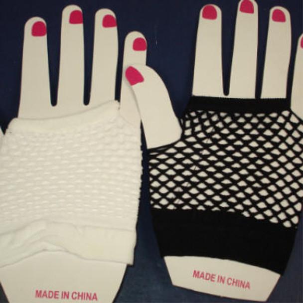Fish Net Club Gloves  Black & White ON SALE  .42