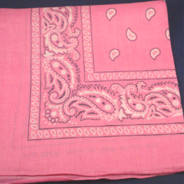Bandana Light Pink DBL Side Printed 100% Cotton .56 ea