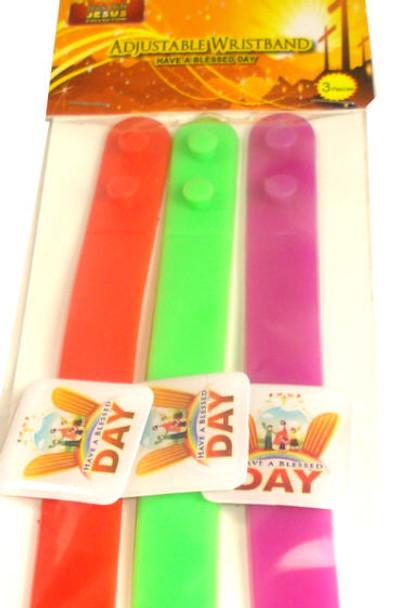 3 Pack Have A Blessed Day Adj. Wristband 24-3 pks per pk  .33 per pk