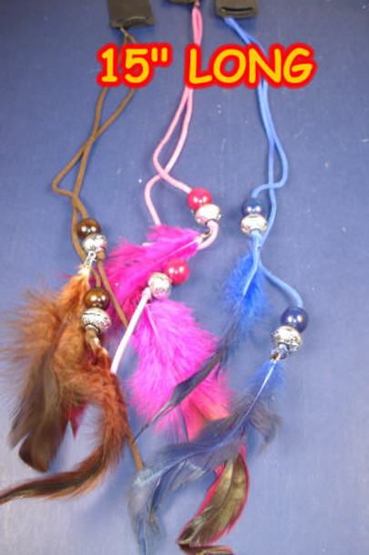 """Black Snap Comb w/ 15"""" DBL Suede Cord w/ Feathers/Beads .40 ea"""
