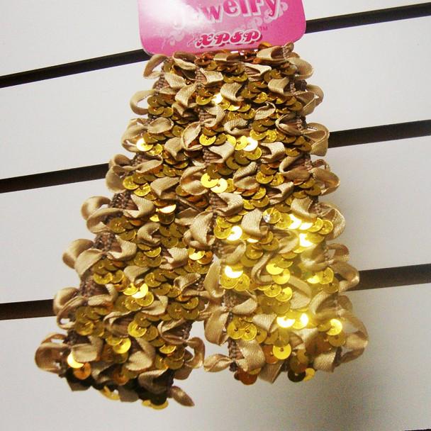 "2 Pk 1.5"" Stretch Sequin Headwraps All Gold .25 PER SET"