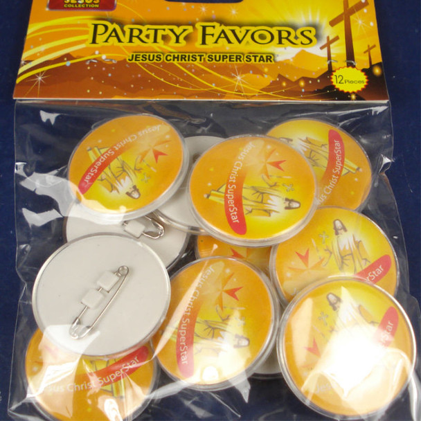 12 Pack Jesus Christ Super Star Buttons 24-12 pks per pk