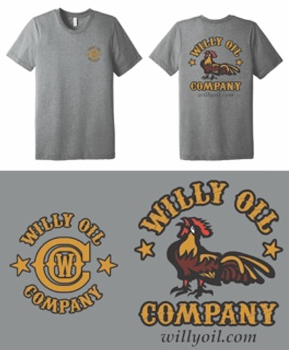 Light Gray Colored t-shirt with Logo on the Front and Back