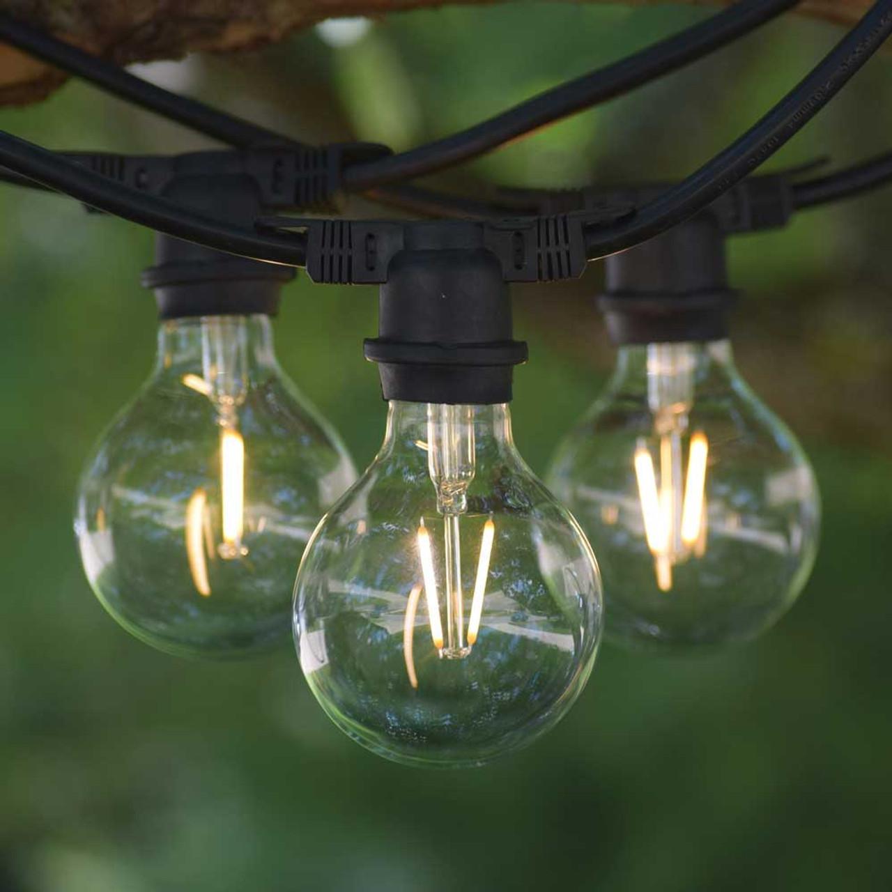 Vintage Outdoor String Lights 100 Black Led G80 Edison Bulbs