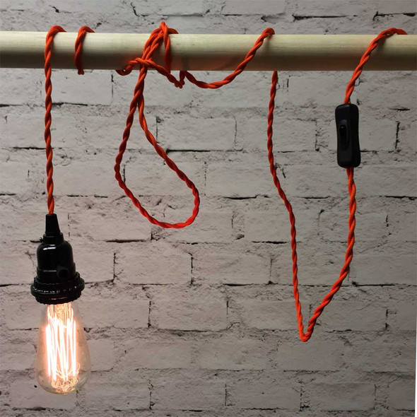 Orange Pendant Light with ST58 Edison Bulb