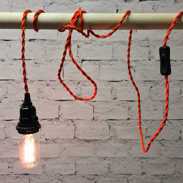 Orange Pendant Light with T14 Edison Bulb
