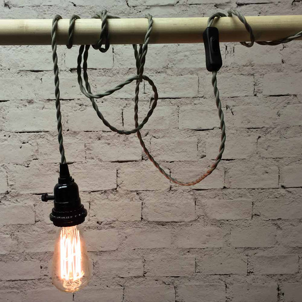 Pewter Grey Pendant Light with ST58 Edison Bulb