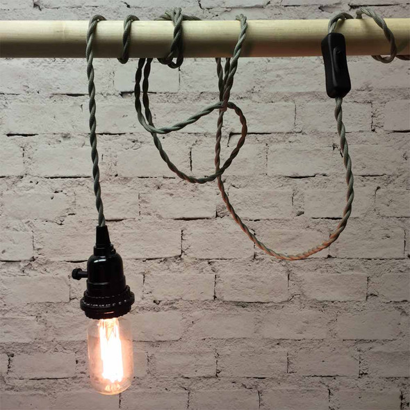 Pewter Grey Pendant Light with T14 Edison Bulb