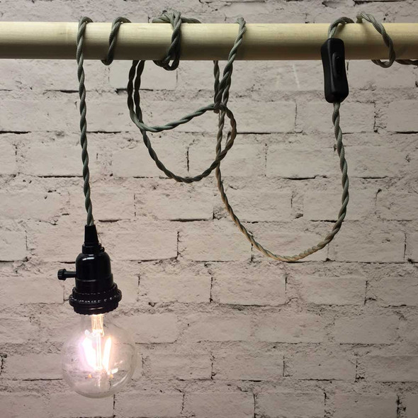Pewter Grey Pendant Light with LED G80 Vintage Bulb