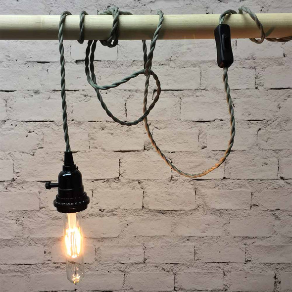Pewter Grey Pendant String Light with LED T9 Vintage Bulb