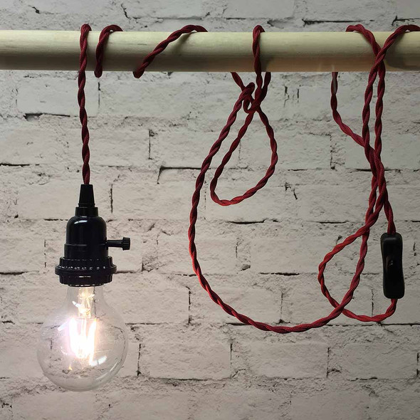Red Pendant String Light with LED G80 Vintage Bulb