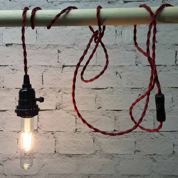 Red Pendant String Light with LED T9 Vintage Bulb