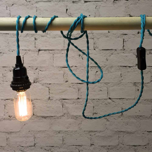 Turquoise Pendant String Light with T14 Edison Bulb