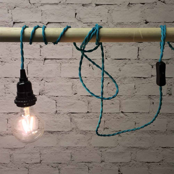 Turquoise Pendant String Light with LED G80 Vintage Bulb