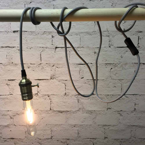 Zebra Pendant String Light with LED T9 Vintage Bulb
