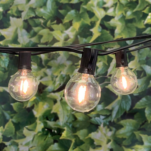 25' Black C7 String Light with LED G40 Vintage Bulbs