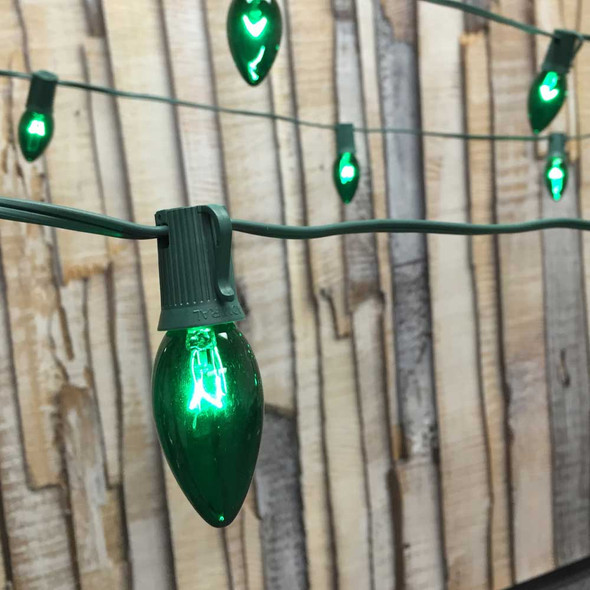 C9 String Lights with Green C9 Bulbs