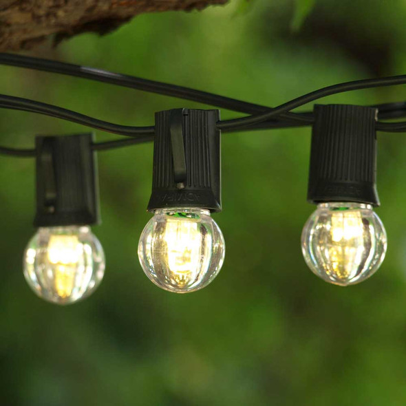 50' Black C9 String Light & LED G30 Bulbs